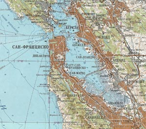 Historical map of San Francisco Bay. In Russian.