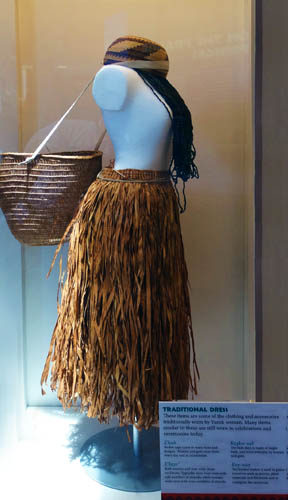 "Traditional female garments, displayed at the new Yurok Tribe visitor center."" Photo by Paul McHugh"