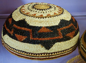 Yurok weaving is intricate and artistic. A traditional woman's basket cap. Photo by Paul McHugh.