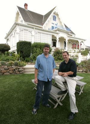 Noah Sheppard and Jed Ayers on the lawn at the MacCallum House inn. Photo by Michael Maloney, S.F. Chronicle.