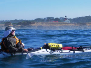 Paul McHugh stroking along near the Point Cabrillo Lighthouse. Photo by Michael Maloney, S.F. Chronicle.