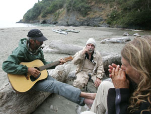 Impromptu beach concert. Trinidad Head. Photo by Michael Maloney, SF Chronicle.