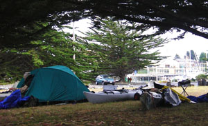 Camp at Woodley Island, Humboldt Bay. Photo by Michael Maloney, S.F.Chronicle.