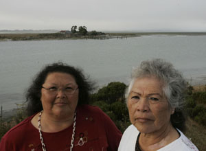 Wiyot tribal chairwoman Cheryl Seidner and her sister, Leona Wilkinson. Photo by Michael Maloney, S.F. Chronicle.