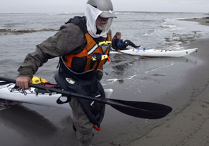 Paul McHugh hauling out at the mouth of the Eel River. Photo by Michael Maloney, S.F. Chronicle.