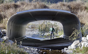 Chris Larson inspects a road culvert that doubles as a fish ladder, enabling salmon to enter a creek. Photo by Michael Maloney, SF Chronicle.