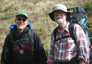 Backpackers Dave BErg and his pal Bill Hickman visit camp. Photo by Michael Maloney, S.F. Chronicle.
