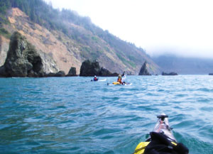 Paddling along a last stretch of the Lost Coast near Usal Cove. Photo by John Weed.