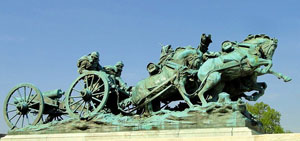 "Washington sculpture of ""flying"" artillery team, a concept invented by Gen. Braxton Bragg, after whom Fort Bragg is named."
