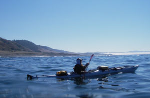Paddling toward fog and Fort Bragg.