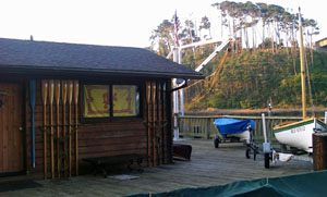 The rowing club shack on the north shore at Noyo, where we slept. Photo by Michael Maloney, S.F. Chronicle.