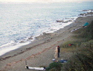 A narrow strip of sand for our tents at Duck Beach on Point Reyes. Photo by John Weed.