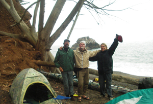 Snug Harbor - our camp against the bluffs at Kirby Cove.