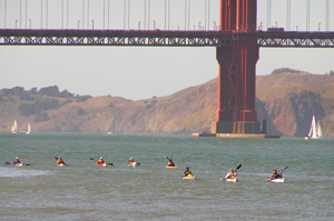 Our kayaks and escorts approach Crissy Field Beach. Photo by Michael Maloney.