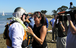 Paul McHugh and Dawn Garcia enjoy a triumphant reunion. Photo by Michael Maloney, S.F. Chronicle.