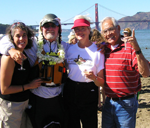 Dawn Garcia, Paul McHugh, and Mom and Pop Garcia at Crissy Field Beach. Photo by Dawn Garcia.