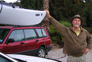 Before the start – Paul McHugh at home prior to drive to the Winchuck