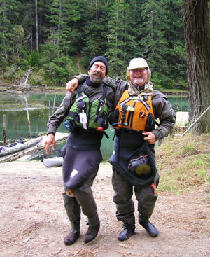 Kickin' it ...John Weed and Paul McHugh step out at the Albion River. Photo by Dawn Garcia.