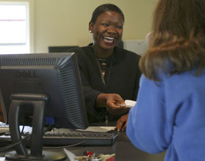 Service with a smile, at the Inwood Credit Union in Point Arena. Photo by Michael Maloney, S.F. Chronicle.