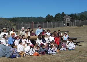 We enjoyed meeting the schoolkids at Fort Ross, and telling them of our voyage. Photo by Michael Maloney. S.F. Chronicle.