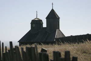 "The Russian Orthodox chapel with redwood ""onion domes,"" at Fort Ross State Historic Park. Photo by Michael Maloney, S.F. Chronicle."