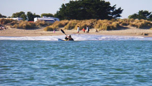 The campground on a sandy spit, Doran County Park at Bodega Bay. Photo by John Weed.