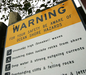 The offshore waters of the North Coast come with a warning label. Photo by Paul McHugh.