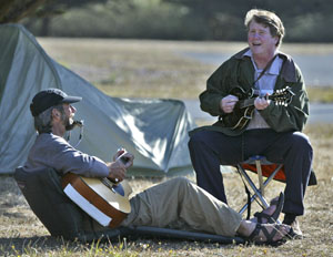 Station owner Cleary jams with Weed in camp. Photo by Michael Maloney, S.F. Chronicle.