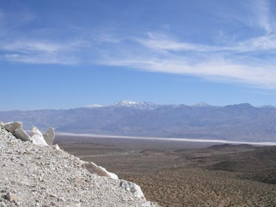 Death Valley mountains covered with snow.