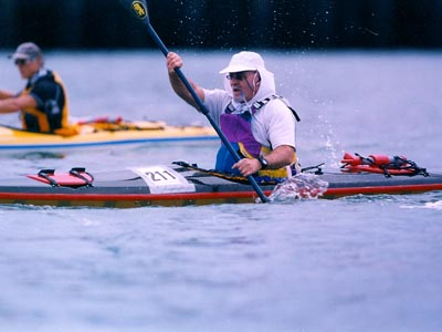 Sea kayak racing . . . a prime pastime.